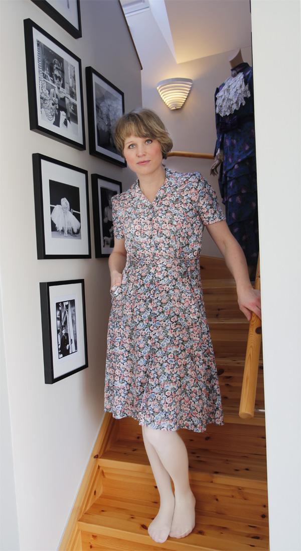 blommig klänning retro