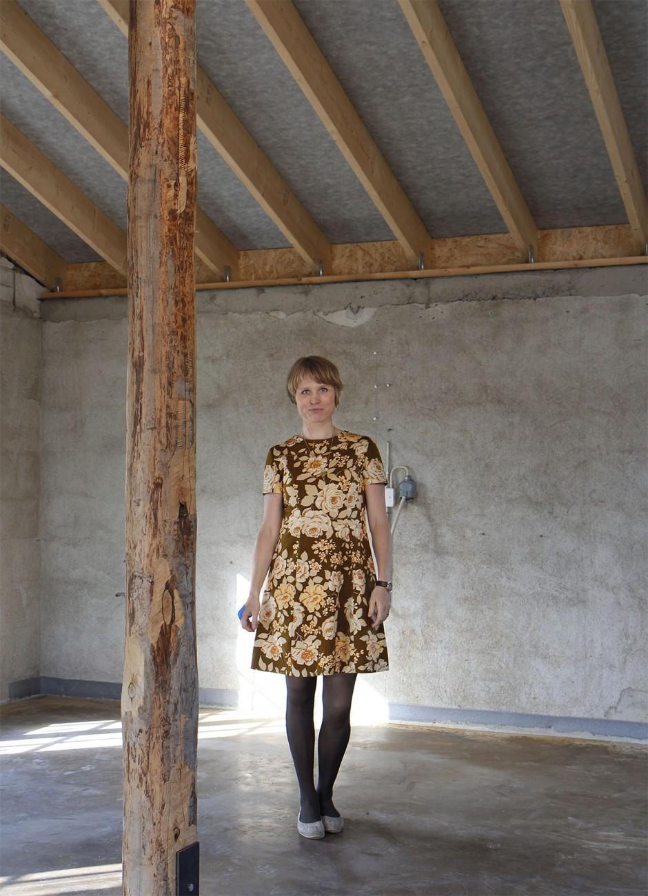 brun vintageklänning